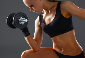 fitness, workout, woman, dumbbell, arms