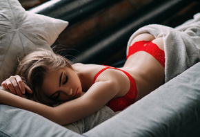 Red, Throng, Body, Sexy, Model, Boobs, Legs, View, Photo, Shot, Sleep
