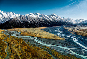 Hooker Valley, горы, небо, Aoraki Mount Cook, National Park