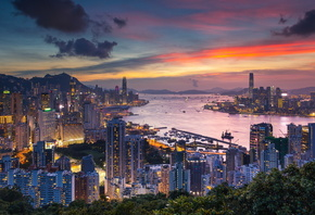 hong kong, china, city, braemar hill, victoria harbour, evening, dawn, skys ...
