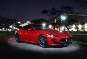 maserati, the granturismo, front, light, mc stradale, street, night, red