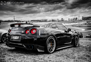 nissan, r35, black, black and white, gt-r
