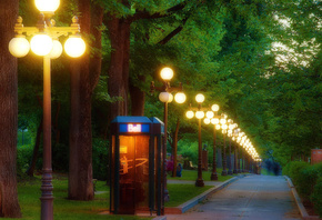 telephone, booth, park, lights