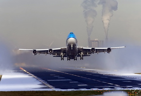 boeing 747, plane, clouds, sky, airport, fly