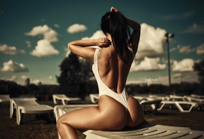 Gayane Bagdasarian, women, back, model, brunette, sitting, one-piece, Alexa ...