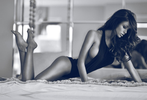 beautiful girl, bed, black and white, posing