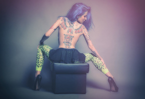 Aneta Smoulinkova, girl, alternative, tattoo, model, девушка, синие, волосы ...