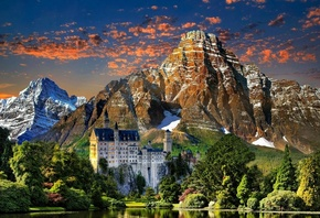 castle, lake, mountain forest