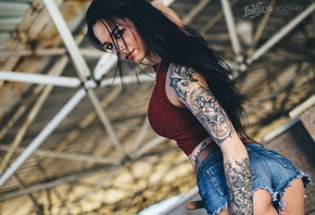 Anastasia Rozhdestvenskay, women, model, black hair, jean shorts, skinny, long hair, denim, tattoos, portrait, looking at viewer, ass, sensual gaze, pierced nose