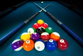 billiard table, balls, pool cue