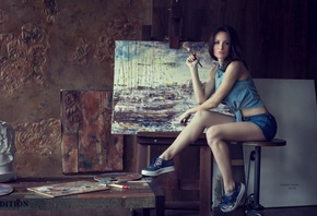 painting, artist, girl, beautiful