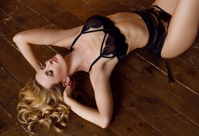 women, closed eyes, hands on head, armpits, black lingerie, blonde, on the floor, wooden surface, arched back