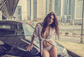 Ekaterina Bermant, women, lingerie, shirt, women with cars, car, the gap, w ...