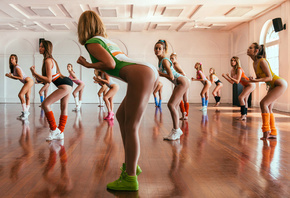 women, group of women, ass, one-piece, leotard, sneakers, sports, exercise, ...