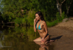 women, bikini, brunette, river, water, belly, flat belly, kneeling, painted ...