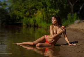 women, bikini, brunette, river, water, belly, flat belly, boobs, nipples, p ...