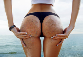 women, ass, sand covered, hands on ass, sea, back, water, black panties, body oil