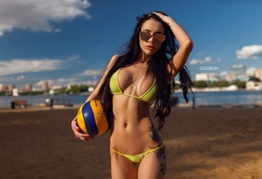 women, bikini, model, black hair, portrait, ball, tattoo, women outdoors, s ...
