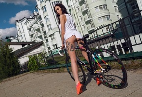women, model, ass, T-shirt, black hair, sneakers, women with bikes, panties ...