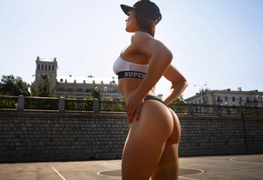 Liubov Oleshkevich, baseball caps, sports bra, ass, fitness model, red nails, looking away, thong, brunette, armpits, portrait, women