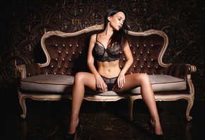 women, model, Angelina Petrova, sitting, closed eyes, high heels, black lin ...