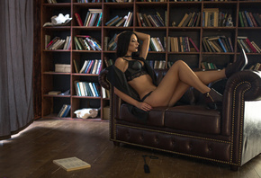 women, brunette, black lingerie, black hair, books, couch, sitting, looking ...