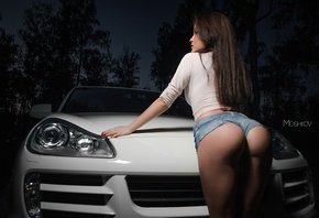 women, ass, car, women outdoors, night, brunette, portrait, jean shorts, sh ...