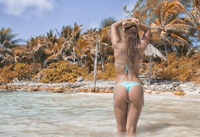 women, back, the gap, bikini, sea, beach, hands on head, sky, clouds, tattoos, long hair, tanned, water drops, wet body, wet hair, sand, sand covered, palm trees, ass