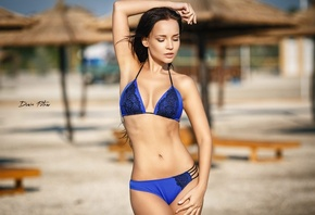 Angelina Petrova, women, model, swimwear, sand, portrait, brunette, belly, armpits, arms up, Denis Petrov, flat belly