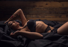 women, brunette, black lingerie, tattoo, hands on head, portrait, belly, wall, black hair, lingerie, Slava Kol