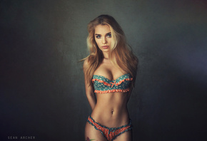 women, model, blonde, portrait, lingerie, simple background, hips, flat belly, belly, brunette, wavy hair, tattoo, Sean Archer