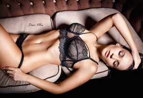 Angelina Petrova, women, model, brunette, black lingerie, black bras, black ...