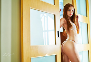 women, ass, redhead, long hair, straight hair, armpits, white lingerie, blue eyes, door, belly, looking at viewer, small boobs