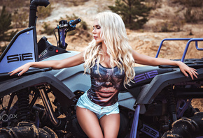 women, ATVs, blonde, Fotoshi Toshi aka Anton Harisov, closed eyes, brunette, wavy hair, portrait, painted nails, jean shorts, women outdoors