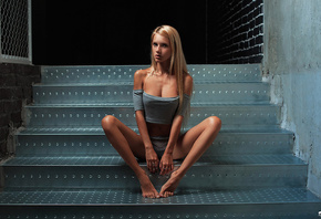 Alena Ushkova, straight hair, women, blonde, model, skinny, tanned, thong, lingerie, stairs, long hair, sitting, portrait, Andres Sivtsov, painted nails