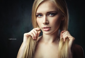Yulia Vasilieva, women, models, traight hair, long hair, portrait, simple background, blue eyes, ponytail, Nikolas Verano