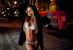 women, blonde, hoods, white lingerie, long hair, belly, tanned, hips, portrait, Ivan Gorokhov