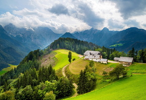 mountains, home, green, hills