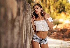 women, model, hips, brunette, dark eyes, tanned, short shorts, jean shorts, tattoo, bare shoulders, belly, white tops, no bra, depth of field, smoky eyes, women outdoors, curvy, Giovanni Zacche