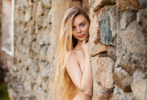 women, portrait, blonde, long hair, wall, blue eyes, Aleksei Gilev