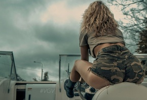 women, boat, short shorts, shoes, ass, brunette, curly hair, camouflage, back, sitting, shirt