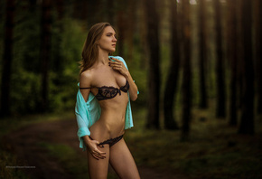 women, portrait, hips, belly, black lingerie, flat belly, shirt, forest, lo ...