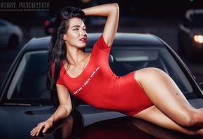 Yulia Chekanova, women, hips, one-piece, car, brunette, women outdoors, han ...