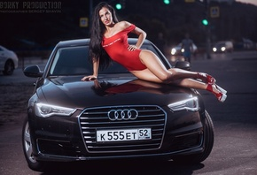 Yulia Chekanova, women, hips, one-piece, car, high heels, brunette, women o ...