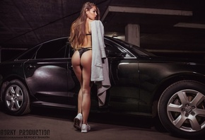 Anastasia Volkova, women, car, black lingerie, ass, backlong hair, sneakers, Sergey Shavin, brunette