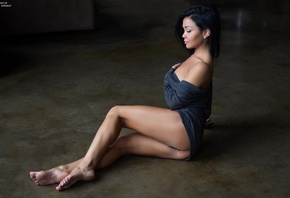 women, brunette, sitting, ass, on the floor, black hair, closed eyes, hands on boobs, bare shoulders, legs, thighs, barefoot
