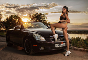 Anastasia Manova, women, sunset, women outdoors, tanned, one-piece, baseball caps, car, sky, women with glasses, sunglasses, tattoo, long hair, ass, clouds