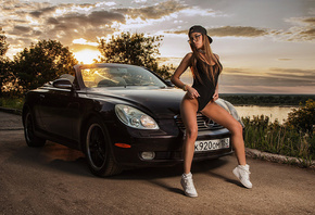 Anastasia Manova, women, sunset, women outdoors, tanned, one-piece, baseball caps, car, sky, women with glasses, sunglasses, long hair, clouds