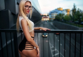 Aniuta Mi, women, blonde, straight hair, women outdoors, tanned, glasses, women with glasses, portrait, belly, long hair, ass, depth of field, sensual gaze, red nails, alex marti, skinny