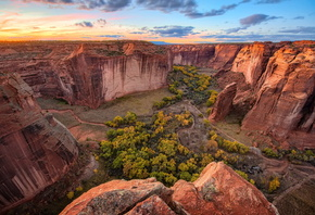 Небо, Canyon de Chelly, Каньон, Деревья, Природа